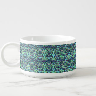 Abstract hand drawn pattern. Green cyan colors. Bowl