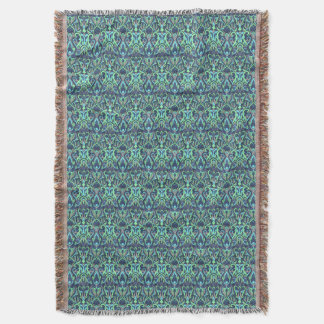 Abstract hand drawn pattern. Green cyan colors. Throw Blanket