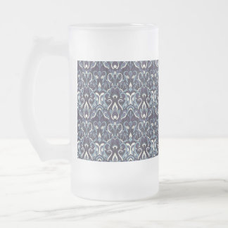 Abstract hand drawn pattern. Navy color. Frosted Glass Beer Mug