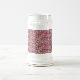 Abstract hand drawn pattern. Pink color. Beer Stein