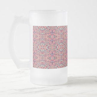 Abstract hand drawn pattern. Pink color. Frosted Glass Beer Mug