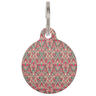 Abstract hand drawn pattern. Pink color Pet Tag