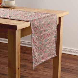 Abstract hand drawn pattern. Pink color. Short Table Runner