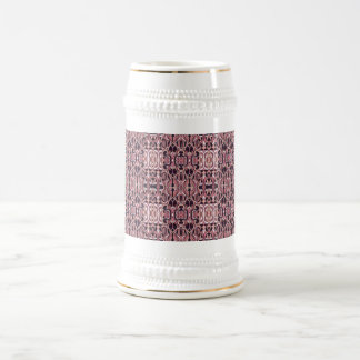 Abstract hand drawn pattern. Pink violet colors. Beer Stein