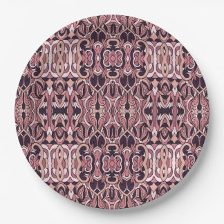 Abstract hand drawn pattern. Pink violet colors. Paper Plate