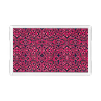 Abstract hand drawn pattern. Purple pink colors. Acrylic Tray