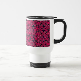 Abstract hand drawn pattern. Purple pink colors. Travel Mug