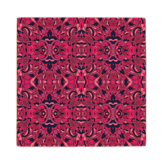 Abstract hand drawn pattern. Purple pink colors. Wood Coaster