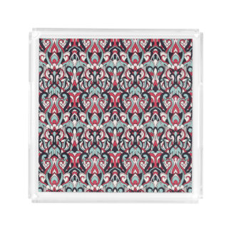 Abstract hand drawn pattern. Red blue color. Acrylic Tray