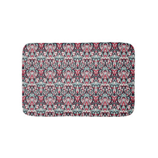 Abstract hand drawn pattern. Red blue color. Bath Mat