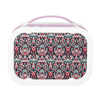Abstract hand drawn pattern. Red blue color. Lunchbox