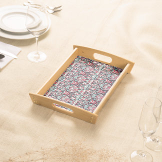 Abstract hand drawn pattern. Red blue color. Serving Tray