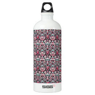 Abstract hand drawn pattern. Red blue color. Water Bottle