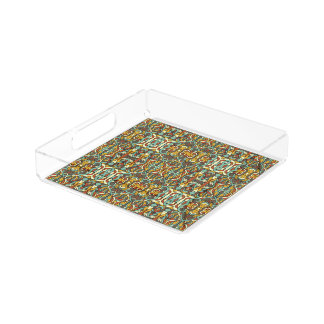 Abstract hand drawn pattern. Retro color. Acrylic Tray