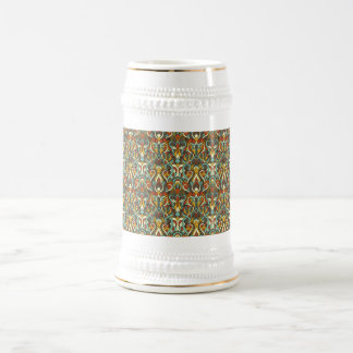 Abstract hand drawn pattern. Retro color. Beer Stein