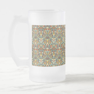 Abstract hand drawn pattern. Retro color. Frosted Glass Beer Mug