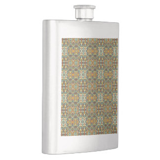 Abstract hand drawn pattern. Retro color. Hip Flask