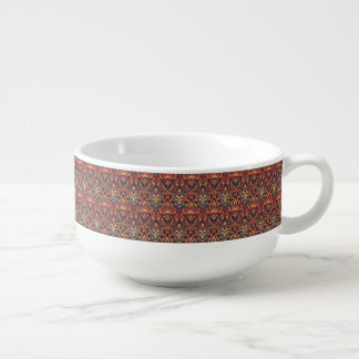 Abstract hand drawn pattern. Retro colors. Soup Bowl With Handle
