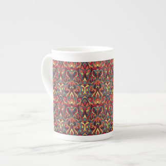 Abstract hand drawn pattern. Retro colors. Tea Cup