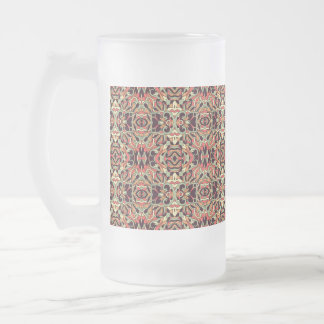 Abstract hand-drawn pattern. Warm color. Frosted Glass Beer Mug