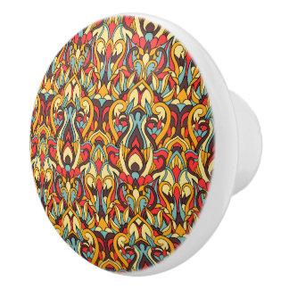 Abstract hand drawn pattern. Warm colors. Ceramic Knob