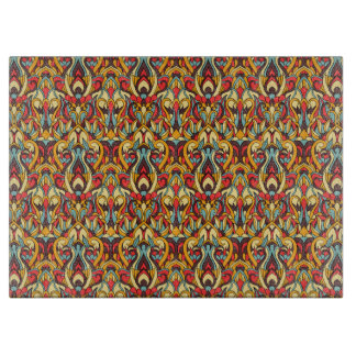 Abstract hand drawn pattern. Warm colors. Cutting Board