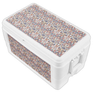 Abstract hand drawn pattern. Warm colors. Ice Chest