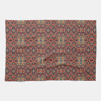 Abstract hand drawn pattern. Warm colors. Kitchen Towel