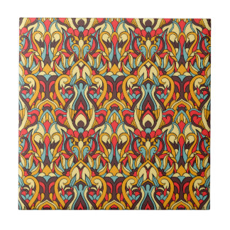 Abstract hand drawn pattern. Warm colors. Tile