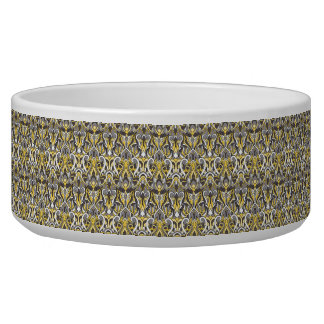 Abstract hand drawn pattern. Yellow white color. Dog Bowl
