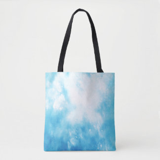 Abstract Hand Drawn Watercolor Background: Blue Tote Bag