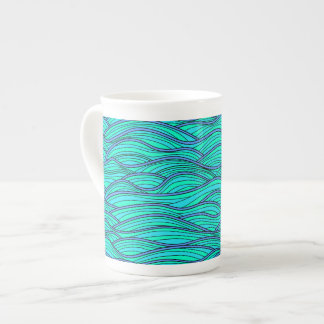 Abstract hand-drawn waves texture. Sea background. Tea Cup