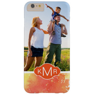 Abstract Hand Painted Orange Watercolor | Monogram Barely There iPhone 6 Plus Case