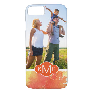Abstract Hand Painted Orange Watercolor | Monogram iPhone 8/7 Case