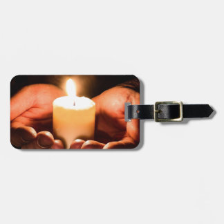 Abstract hands and candle ministry christian luggage tag