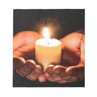 Abstract hands and candle ministry christian notepad