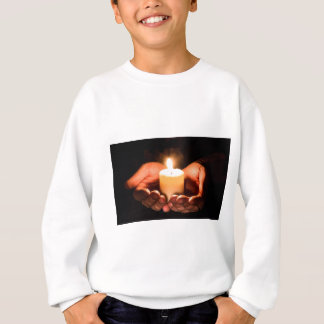 Abstract hands and candle ministry christian sweatshirt