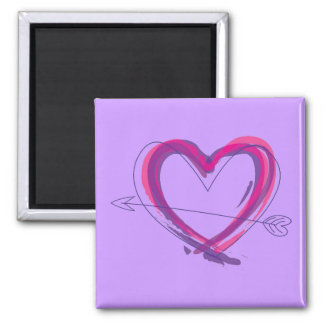 Abstract heart in purple and pink square magnet