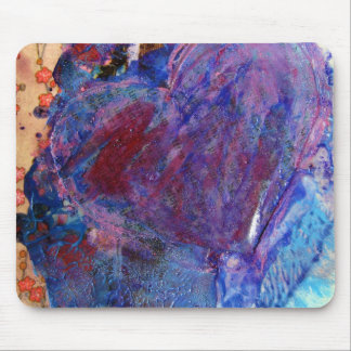Abstract Heart Mixed Media Collage Mouse Pad