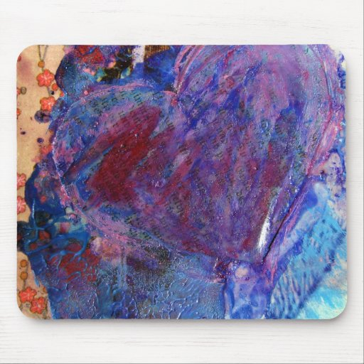 Abstract Heart Mixed Media Collage Mousepads