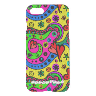 Abstract Hearts And Flowers Rug Colorful Imitation iPhone 8/7 Case