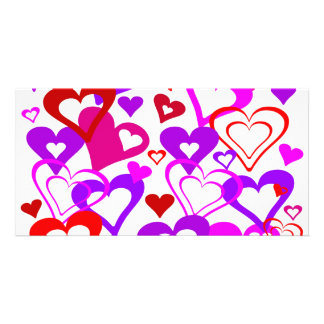 Abstract Hearts Customized Photo Card