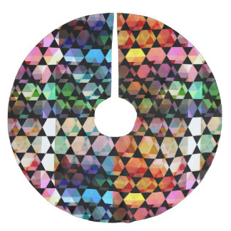 Abstract Hexagon Graphic Design Brushed Polyester Tree Skirt