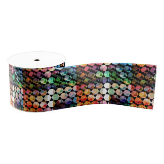 Abstract Hexagon Graphic Design Grosgrain Ribbon