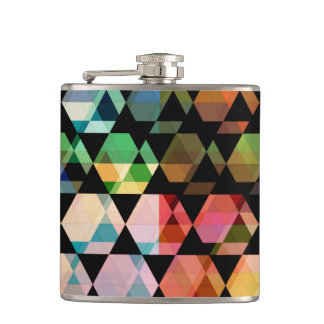 Abstract Hexagon Graphic Design Hip Flask