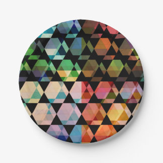 Abstract Hexagon Graphic Design Paper Plate