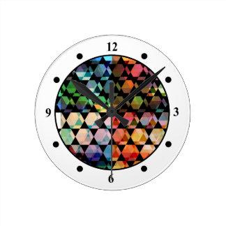 Abstract Hexagon Graphic Design Round Clock