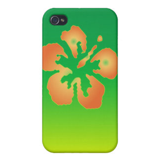 Abstract Hibiscus on Green and Yellow Case For The iPhone 4