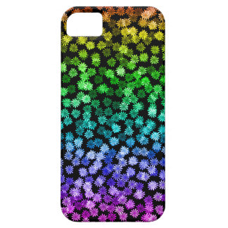 Abstract Hippy Boho Rainbow Flowers Black Cute Case For The iPhone 5