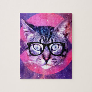 Abstract Hipster Cat Jigsaw Puzzle